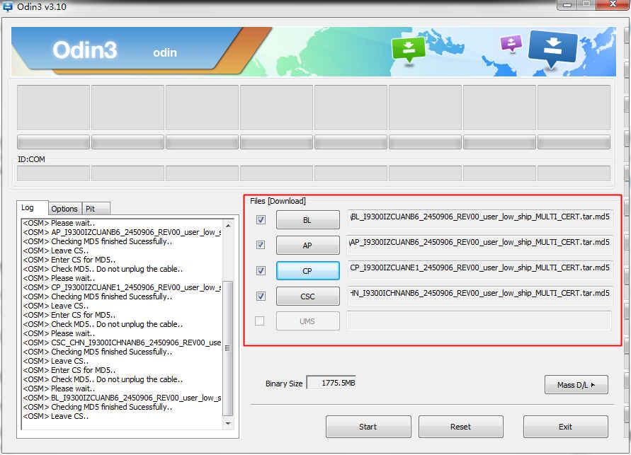 Odin3 v3.10.6 split firmware